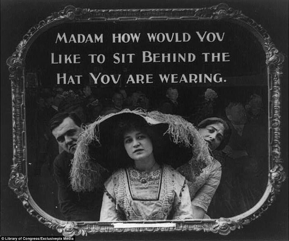 A Cinema Poster From 1912 Shows A Man And A Woman Struggling To See The Screen With The Caption Madam, How Would You Like To Sit Behind The Hat You Are Wearing