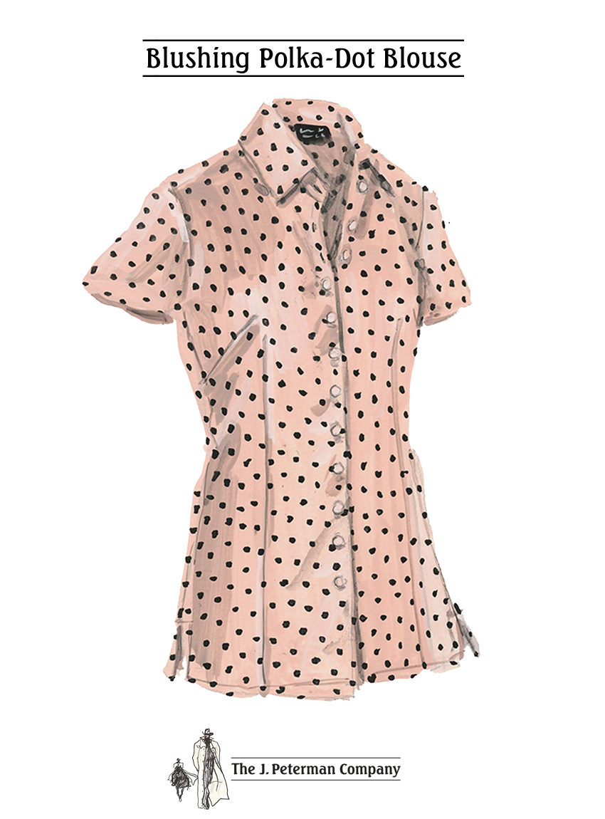 Blushing Polka-Dot Blouse - The J Peterman Company - The Best Places to Kiss in Paris - Peterman's Eye