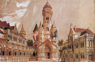 Ideal Design For Neuschwanstein Castle By Christian Jank In 1868, Which Incorporated Richard Wagner's Instructions For The Set Of  Act 2 Of The Opera Lohengrin; East View Of The Upper Courtyard, With The Keep And Chapel In The Centre