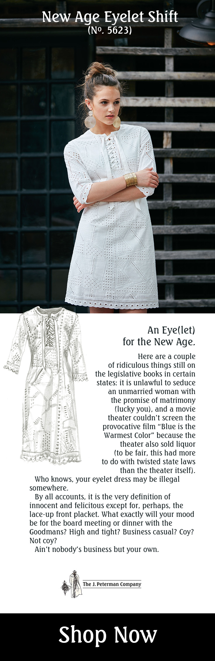 New Age Eyelet Shift – The J Peterman Company dress white – Peterman's Eye 2